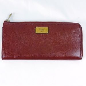 FOSSIL vntg burgundy leather wallet